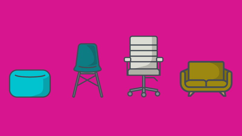 Image of four types of office chairs
