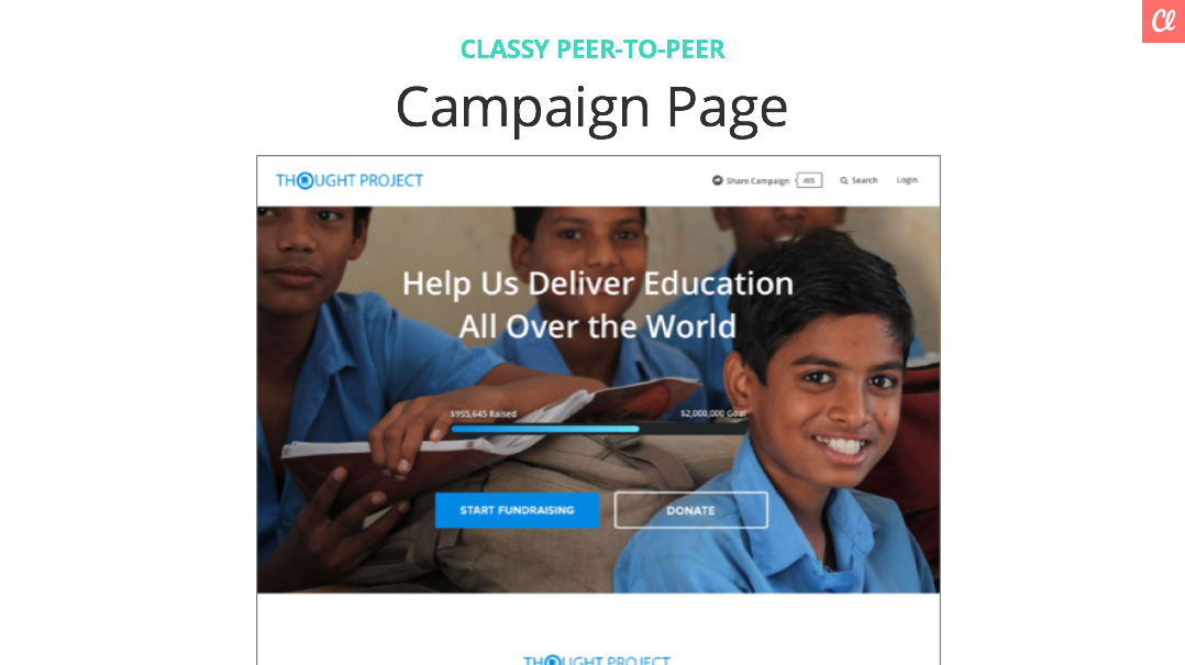 The new Peer-to-Peer campaign page features more prominent images and two stylized call-to-action buttons.