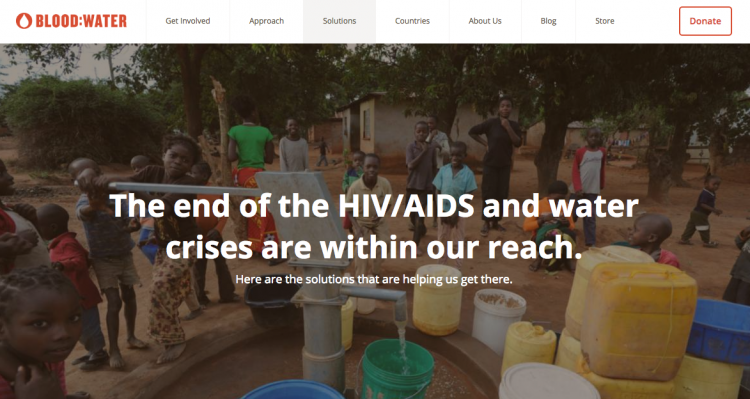 Blood: Water nonprofit website