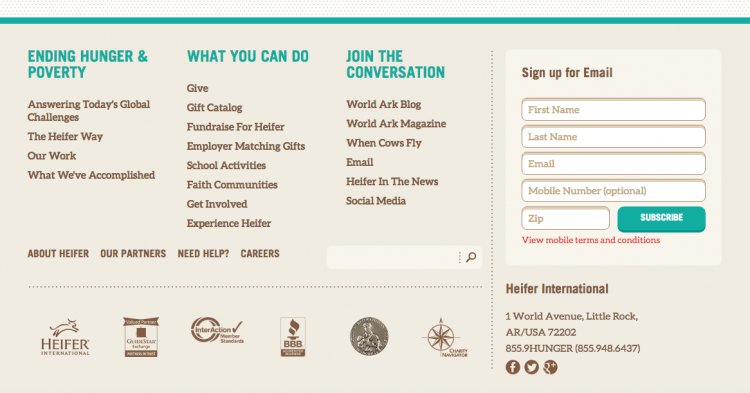 Heifer International website bottom