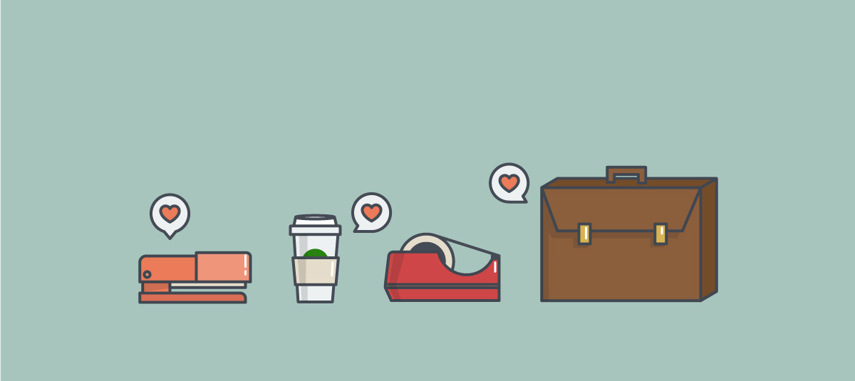 graphic of a stapler a cup of coffee a tape dispenser and a briefcase all getting liked