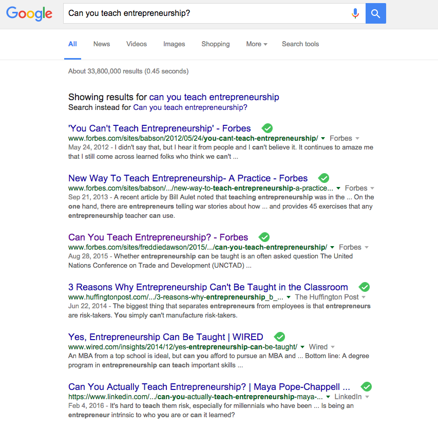 Image of google search for can you teach entrepreneurship