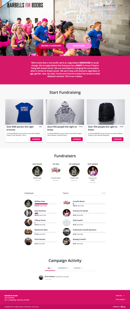 Barbell for Boob's new P2P Fundraising Page