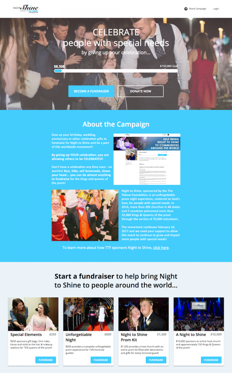 Tim Tebow Foundation's Classy P2P Landing Page. Click to see the full page live.