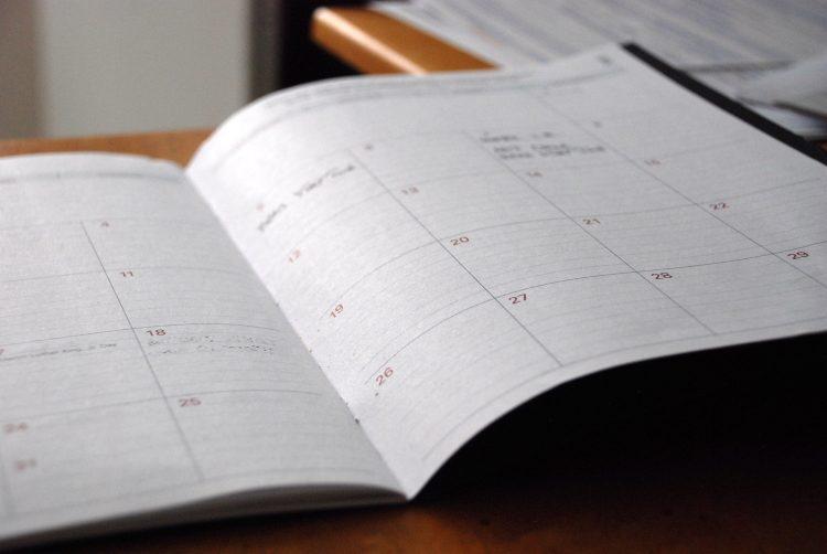 day planner on desk