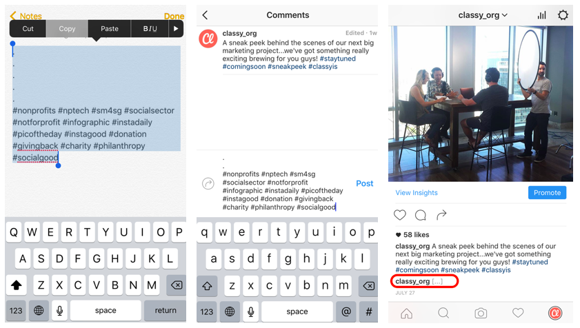 Instagram tip to hide hashtags
