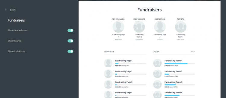 An example of an enabled fundraiser leaderboard on a Classy Peer-to-Peer page