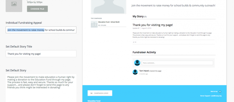 Setting a default appeal and story for an individual fundraiser. They can always personalize this after they sign up!