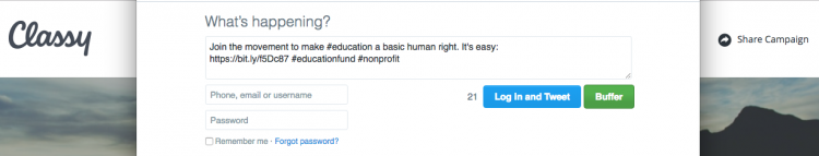 A tweet populated with pre-set social copy when shared from the campaign page