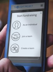 thought project fundraising options on a mobile phone