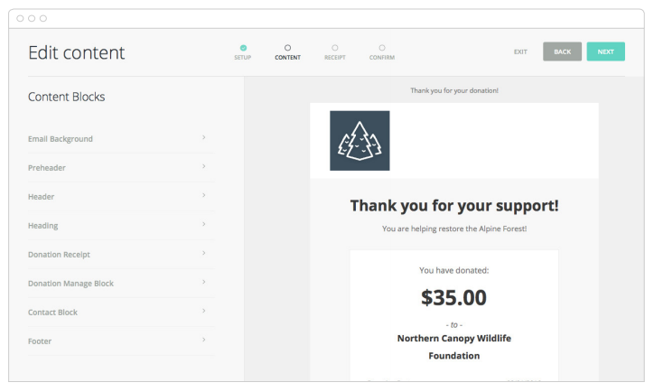 An example of a customizable, automated donation receipt through Classy.