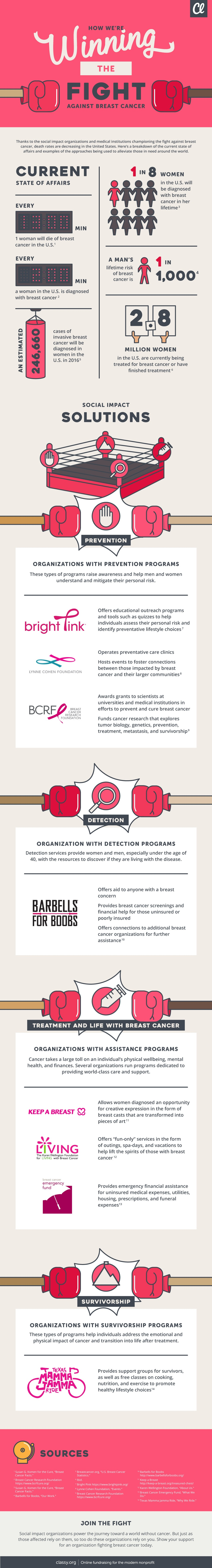Infographic on how organizations fight breast cancer