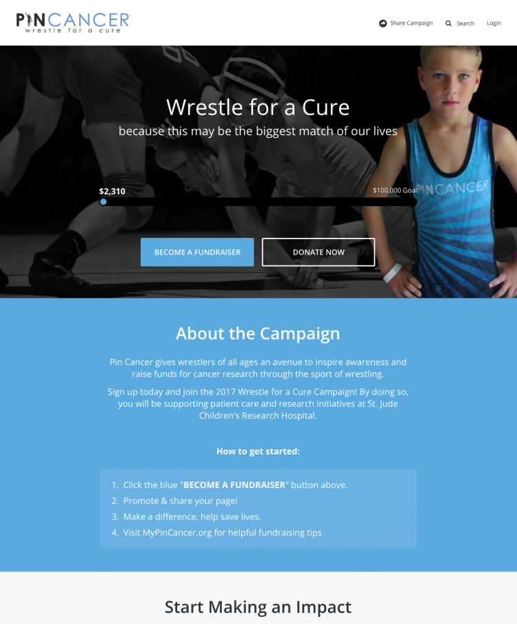 Pin Cancer peer-to-peer fundraising campaign