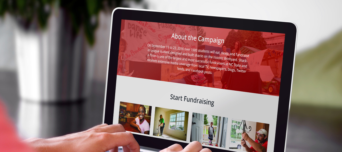 Computer with an example of a fundraising campaign