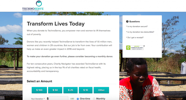 Technoserve online giving form