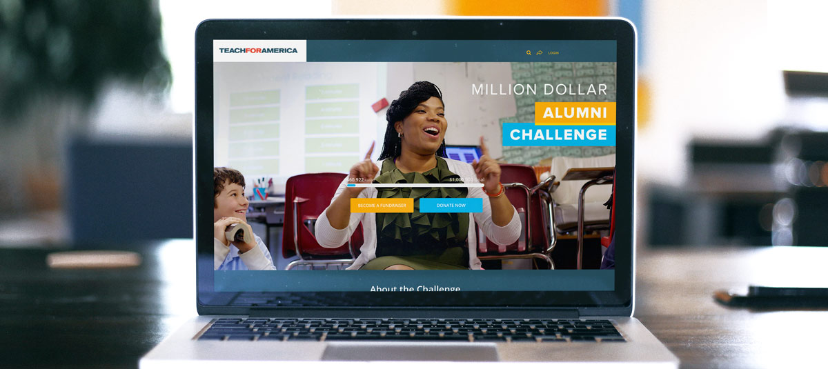 Teach for America fundraising page on a laptop