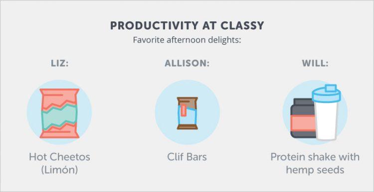 Classy content marketing team snacks