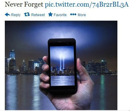 Image of phone taking picture of lights in place of twin towers