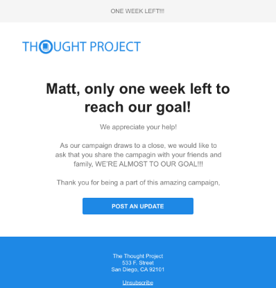 Email notification for fundraising campaign