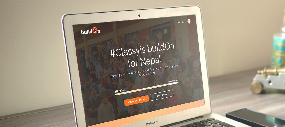 Classy BuildOn campaign on a laptop screen