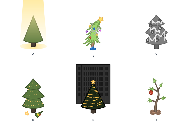 Trees from various holiday films