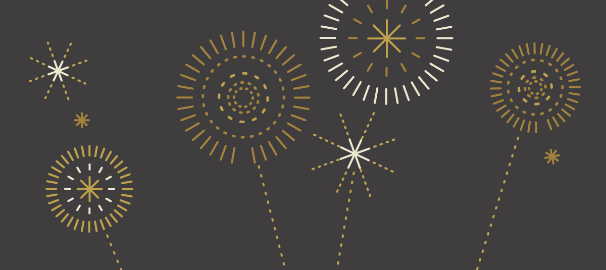 graphic of gold fireworks