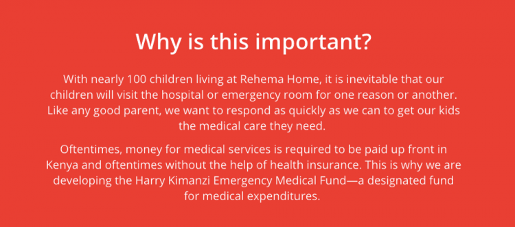 Screen shot from Rehema Home's campaign Content Block