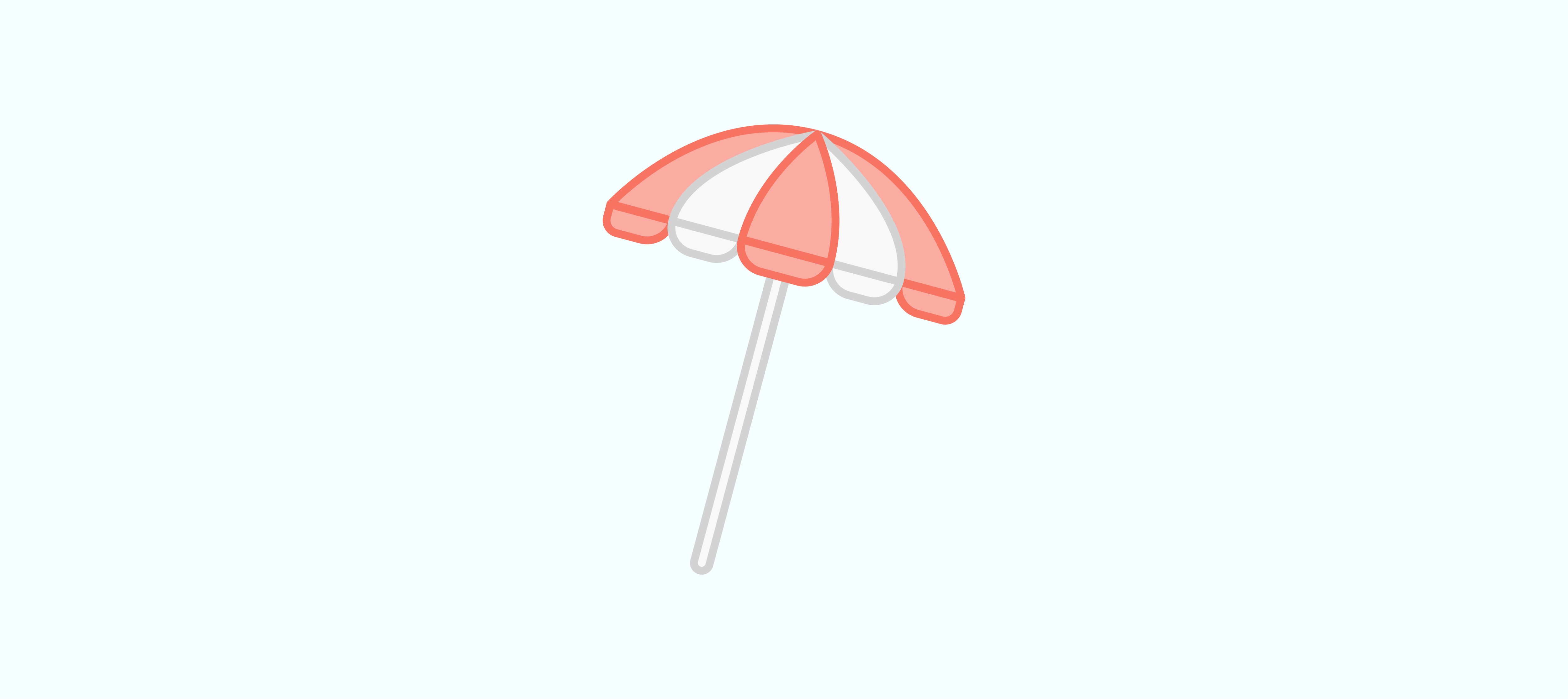graphic of a red and white umbrella with a blue background