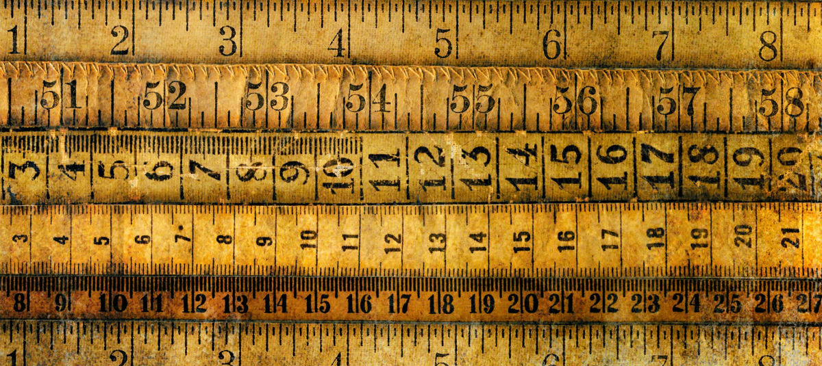 different types of rulers lined up together
