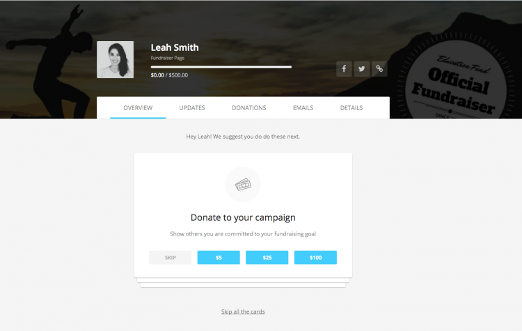 peer-to-peer fundraiser dashboard