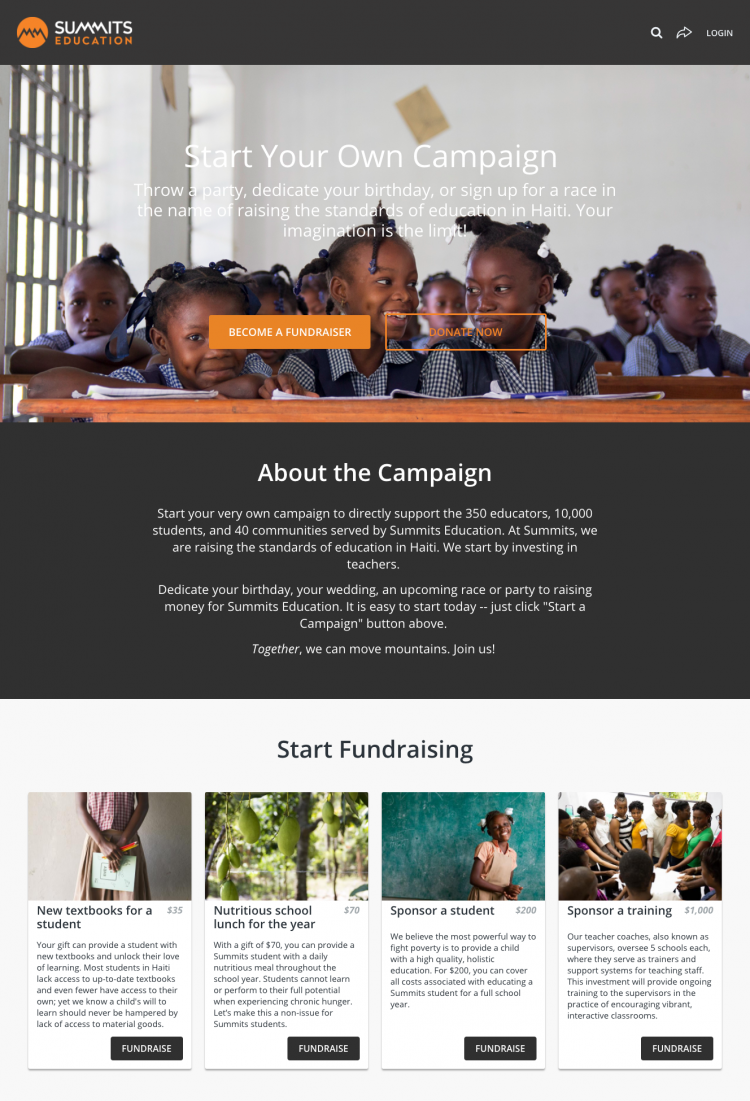 Summit peer-to-peer fundraising campaign