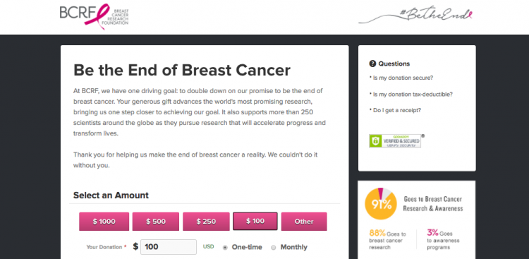 BCRF donation form example