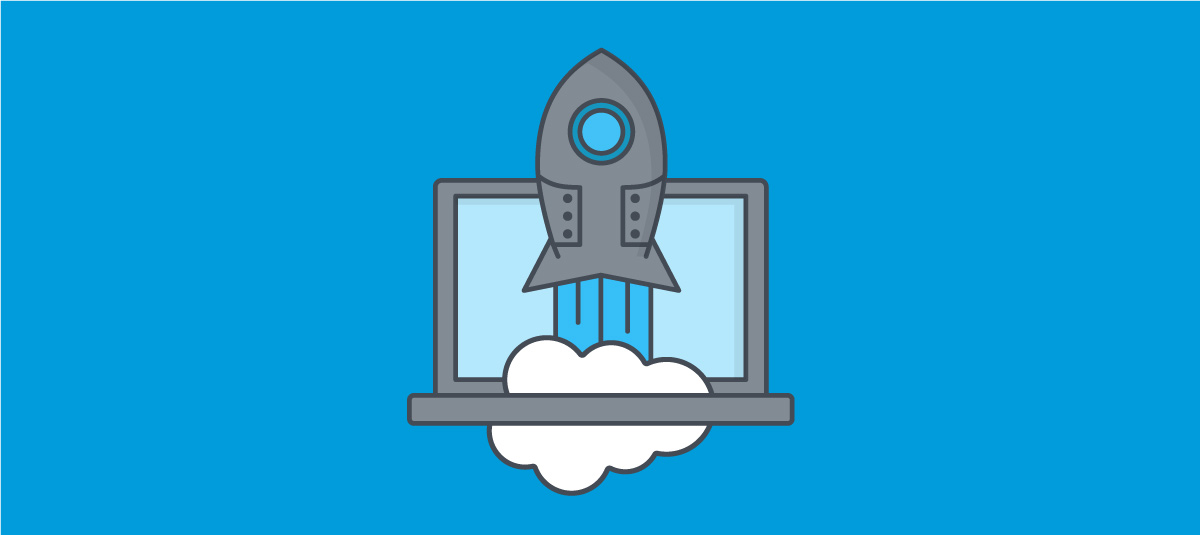 illustration a rocket ship and a laptop computer