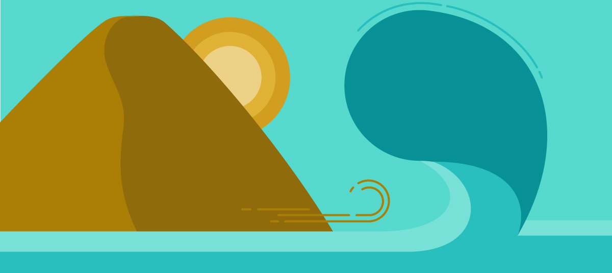 graphic of a mountain and a wave and a sun