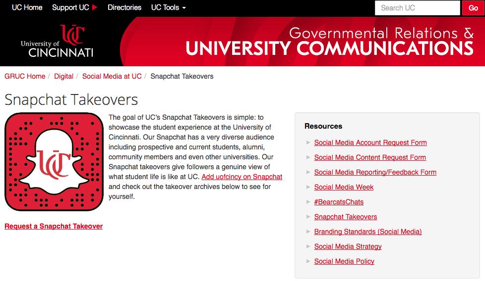 UC Snapchat social media takeover