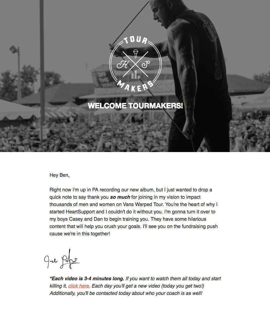Email from Jake donor support