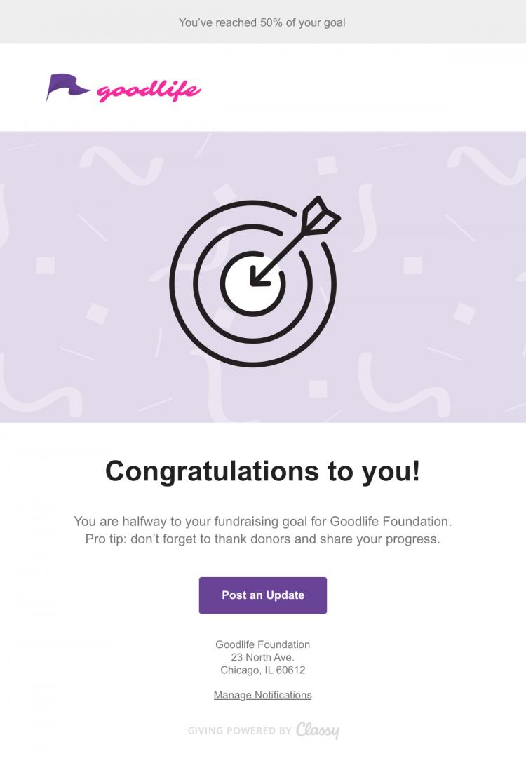milestone fundraising email