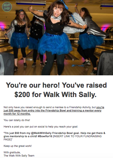Walk With Sally milestone email