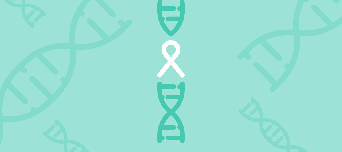 graphic with DNA strands and cancer ribbon