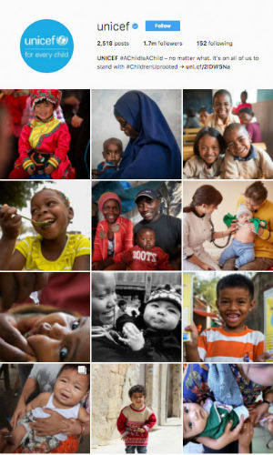 UNICEF instagram profile