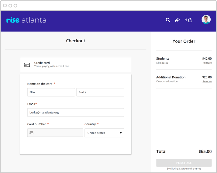 Registration with fundraising checkout visual