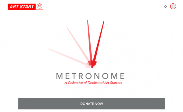 arts organization fundraising page