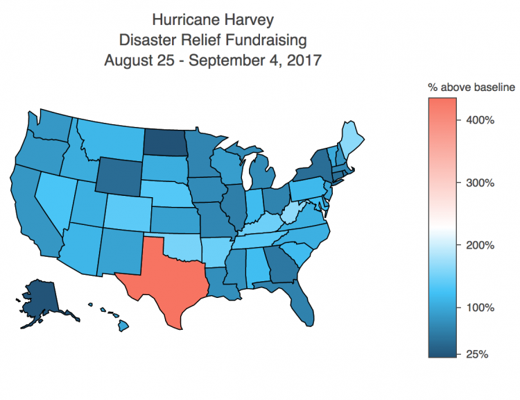 Disaster Relief Fundraising by State