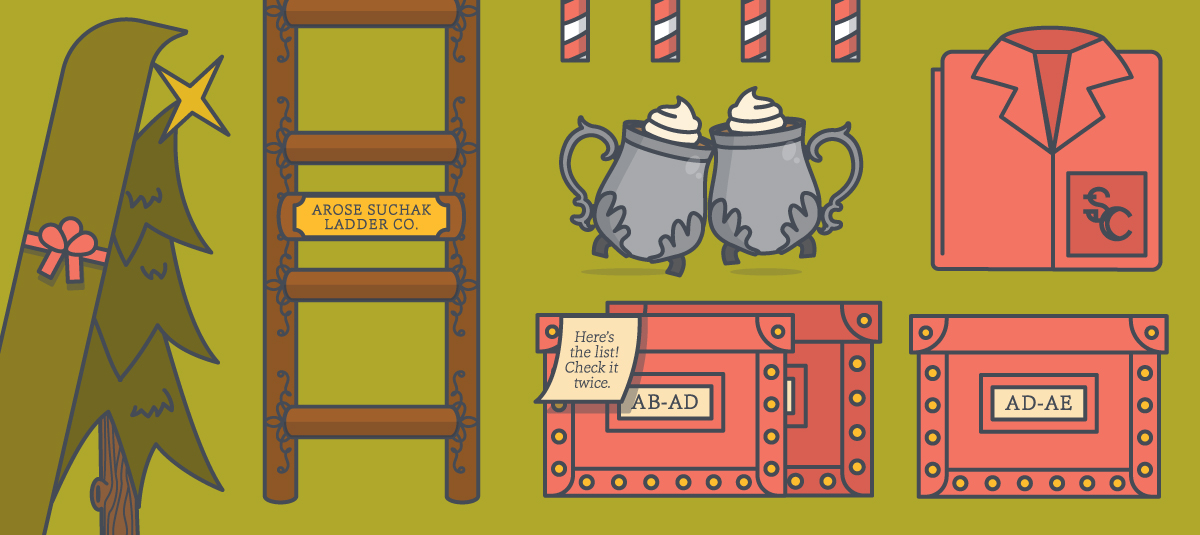 holiday graphic sketch with a ladder a christmas tree two mugs of hot cocoa and santa claus pajamas