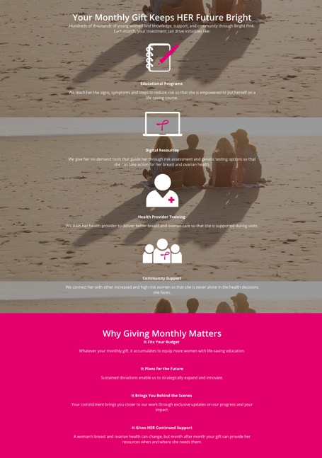 bright pink recurring giving campaign