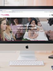 FundHer monthly giving campaign landing page on a computer