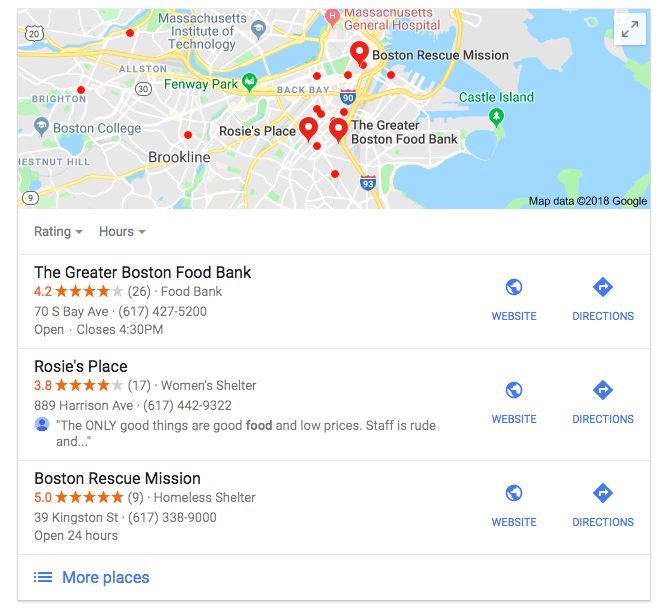 Google search results for food donation Boston