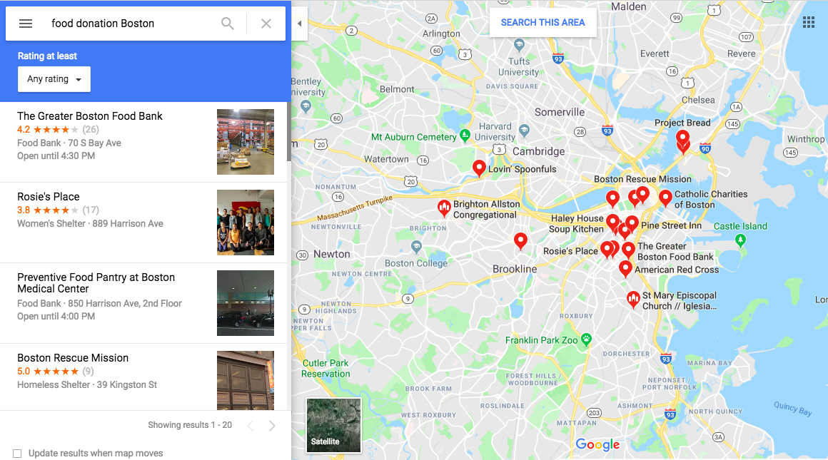 "Google maps search results for ""food donation Boston"""
