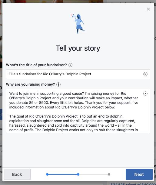 Facebook fundraising user story