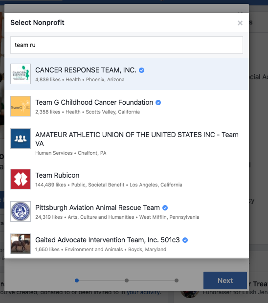 Search results Facebook fundraisers